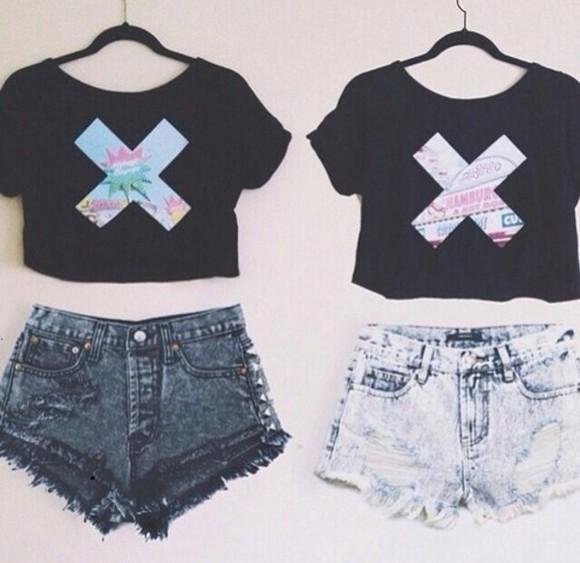 t-shirt crop tops x tee