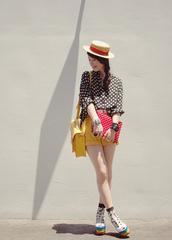 polka dots,tiny toad stool,black blouse,white blouse,blouse