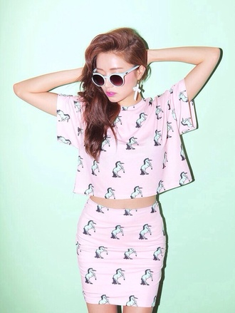 skirt unicorn girl dress shirt pink white horse photoshoot sunglasses glasses hipster earrings cross pink earrings white sunglasses pink cross earrings round hair jewels kawaii
