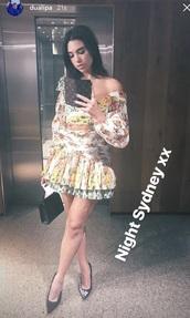 dress,floral dress,dua lipa,yellow dress,mini dress