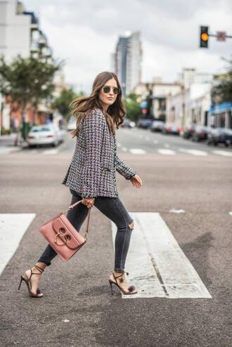 jacket tweed tumblr blazer grey blazer denim jeans black jeans sandals sandal heels high heel sandals bag pink bag