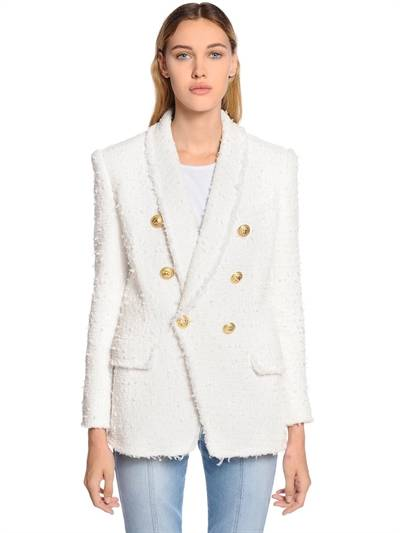 BALMAIN, Double breasted fringed tweed blazer, White, Luisaviaroma