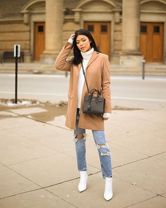 shoes boots white boots white sweater coat camel coat ankle boots jeans blue jeans sweater turtleneck sweater