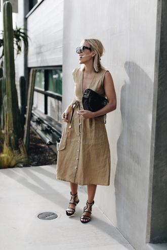 dress midi dress sleeveless sleeveless dress nude dress sandals bag flat sandals handbag