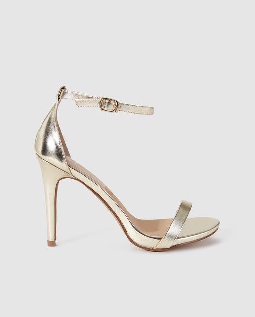 Sandalias de tacón de mujer Fórmula Joven doradas con cierre de pulsera