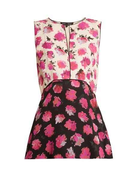 Proenza Schouler top floral print silk black pink