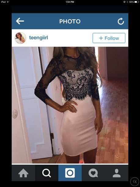 dress lace dress black and white dress