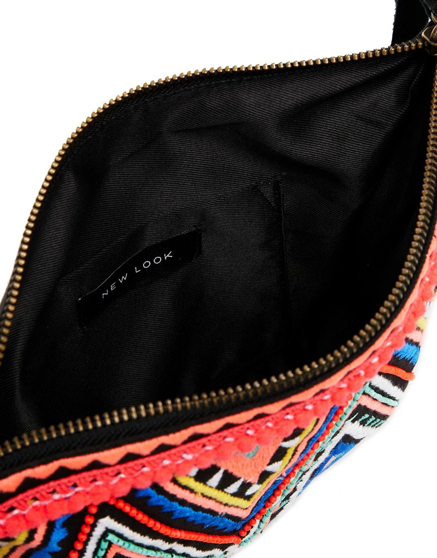 New Look Printed Clutch with Suede Fringing at asos.com