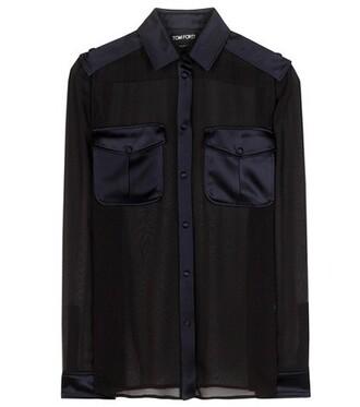 blouse sheer silk black top