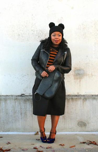black skirt naja diamond blogger pom pom beanie t-strap heels striped sweater leather jacket curvy