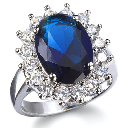 Kate middleton inspired sapphire blue engagement ring