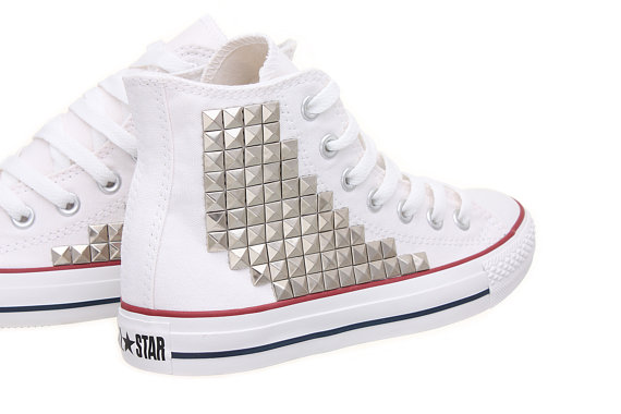 Studded converse converse high top with silver door customduo