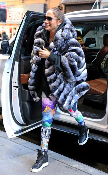leggings colorful fur fur coat sneakers jennifer lopez