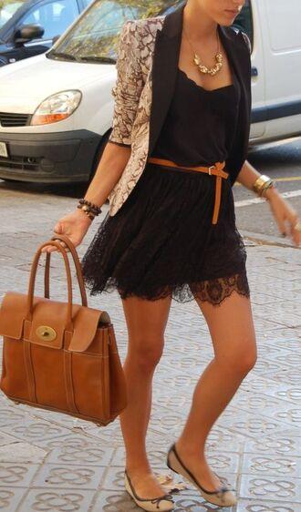 jacket blazer lace dress cute necklace flasts shoes purse brown white black pretty preppy belt bag tote bag little black dress black lace dress