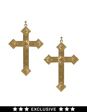 Rock 'N' Rose | Rock N Rose Exclusive For ASOS Vintage Art Deco Cross Earring at ASOS