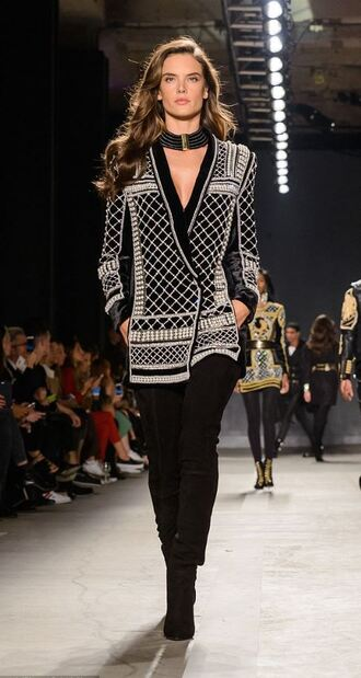 jacket top blazer alessandra ambrosio boots runway h&m