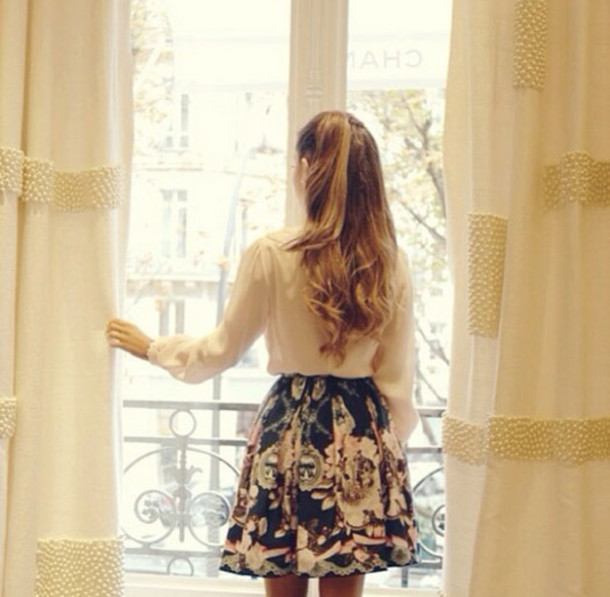 skirt floral skirt floral ariana grande skater skirt blouse