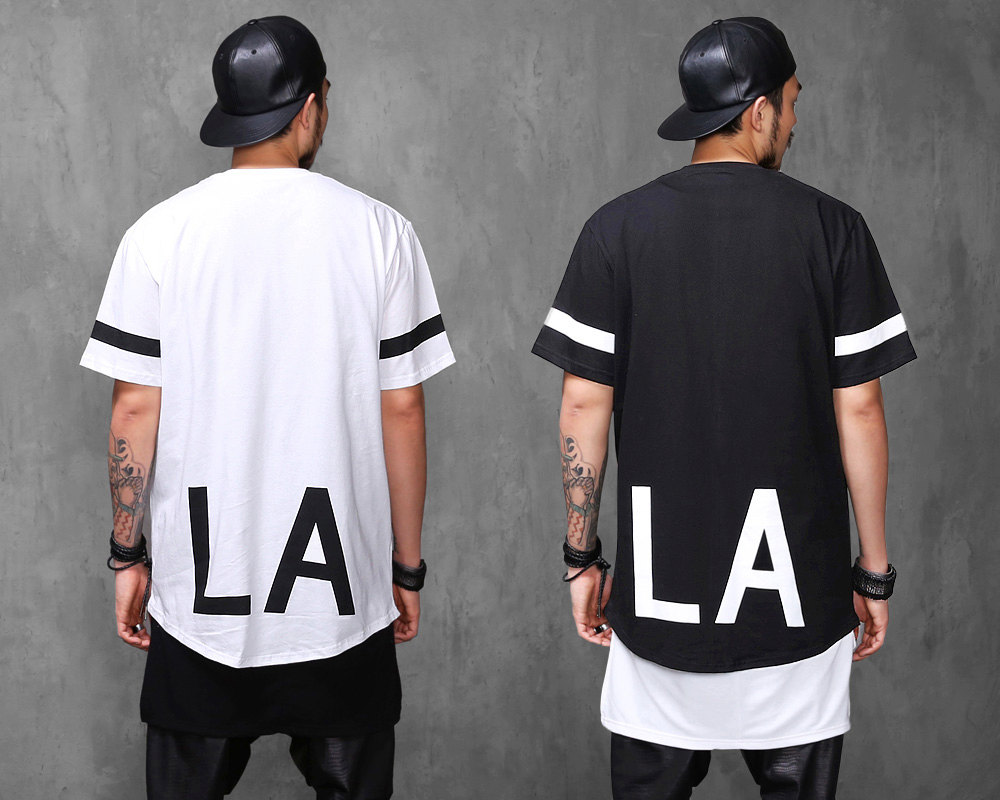 Elongated la 1/2 long t shirt extended black,white s,m,l tee696