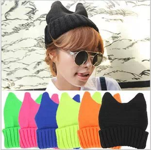 Neon candy horn hat candy color knitted hat female little demon of knitted hat cat ears knitted hat