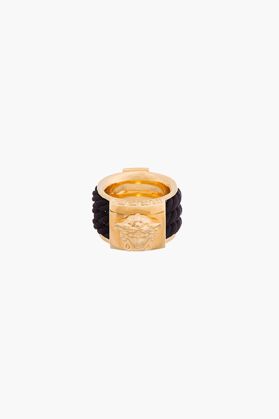 Versace gold and black rope emblem ring