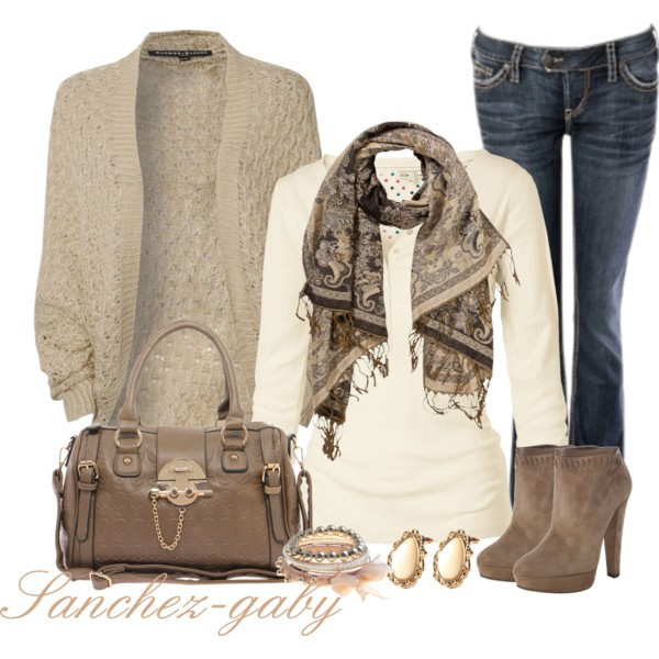 bag jeans booties scarf jewels shirt cardigan brown outfit outfit classy shoes