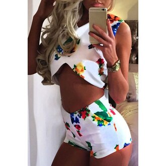 romper two-piece floral set two piece dress set pajamas print romper v-neck bodycon jumpsuit chiffon bodysuits shorts romper