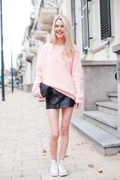 sweater,baby pink sweater,black mini skirt,white converse