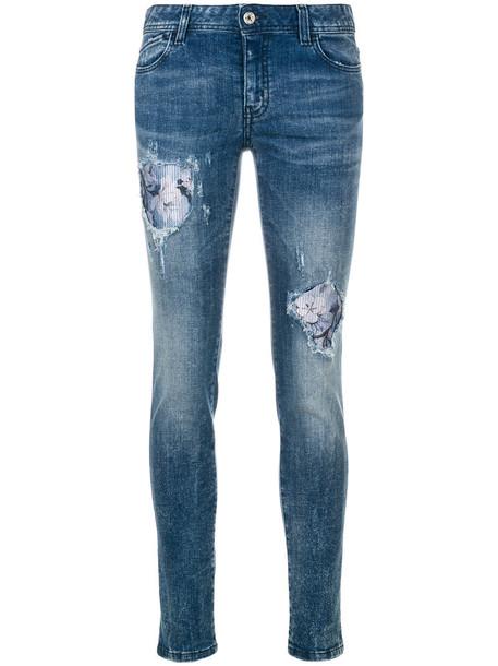 just cavalli jeans women spandex leather cotton blue