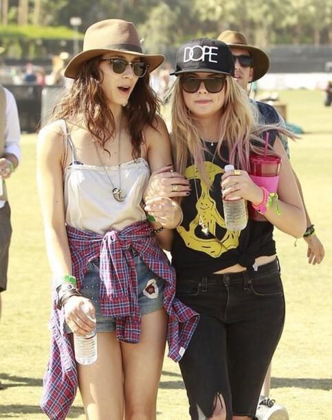 ashley benson cap sunglasses dope troian bellisario festival hairstyles jeans coachella