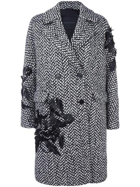 coat women embellished black wool