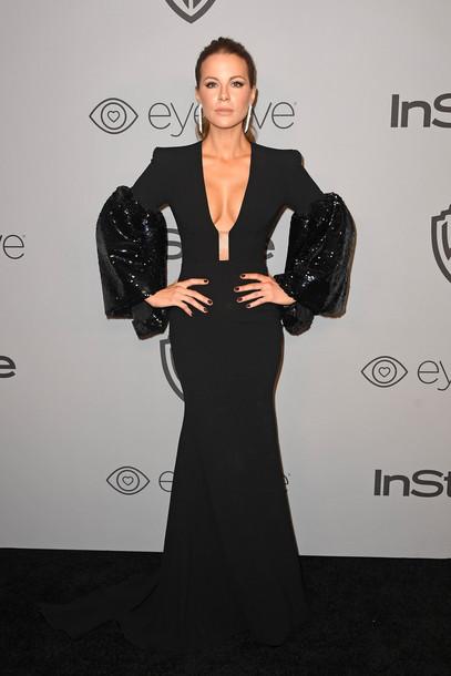 dress black dress plunge v neck kate beckinsale prom dress gown Golden Globes 2018 red carpet dress