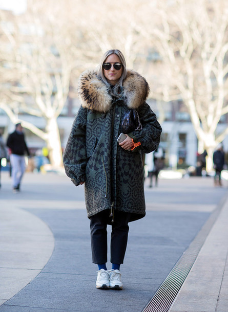 the fashion guitar blogger winter coat coat pants sunglasses bag socks