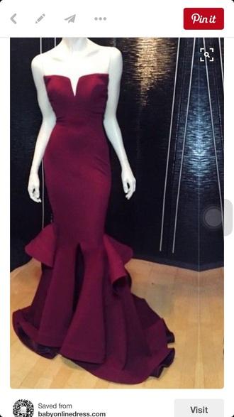 dress prom dress strapless burgundy sweetheart dress prom satin