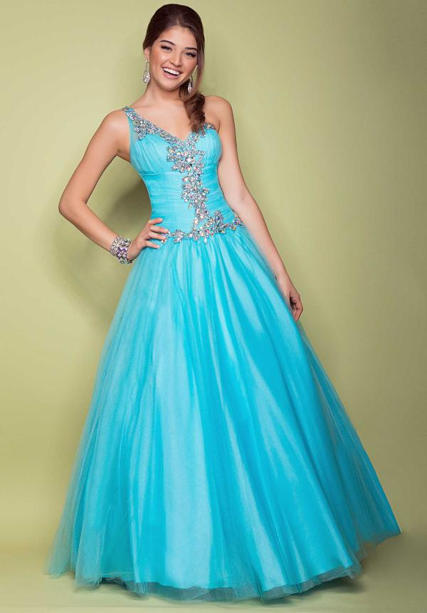 2014 Unique One-Shoulder with Beaded Ball Gown Organza Floor Length Prom Dress - Willpromdress.com