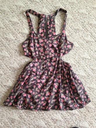 dress floral cute dress cut-out dress