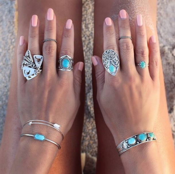 jewels blue cute nails