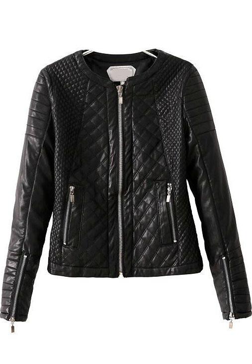 Black Long Sleeve Diamond Pattern PU Jacket - Sheinside.com