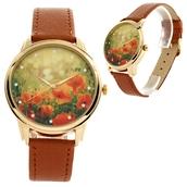 jewels,watch,wriswatch,brown,flowers,poppy watch,romantic watch,beautiful watch,unusual watch,unique watch,leather watch,floral watch,ziziztime,ziz watch