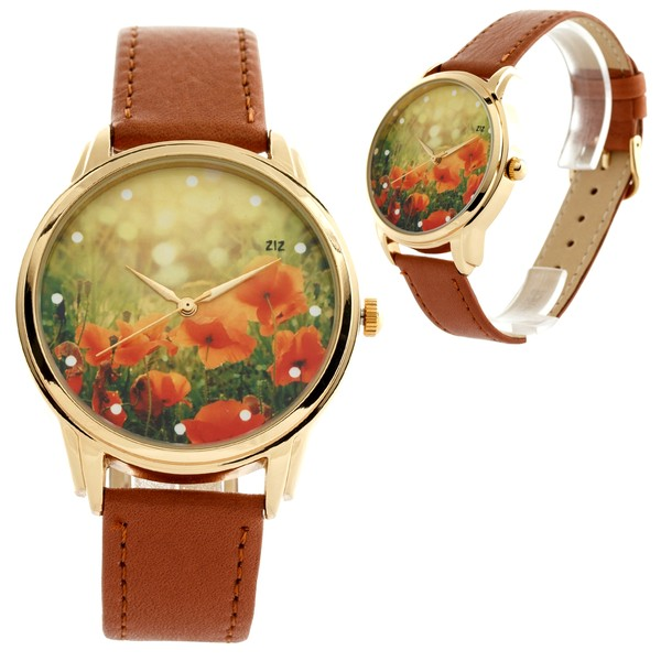 jewels watch wriswatch brown flowers poppy watch romantic watch beautiful watch unusual watch unique watch leather watch floral watch ziziztime ziz watch