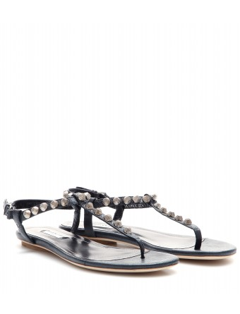 29d304ff009f mytheresa.com - Giant studded textured-leather sandals - Flat ...