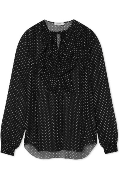 L'Agence blouse chiffon blouse chiffon black top