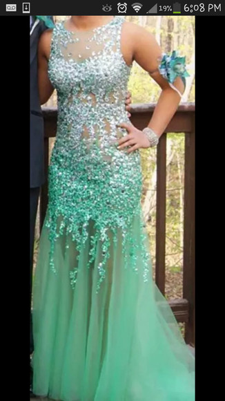 sheer prom dress blue dress sequin dress high neckline