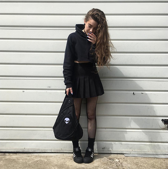 sweater black hoodie black pleated skirt black backpack black sneakers blogger