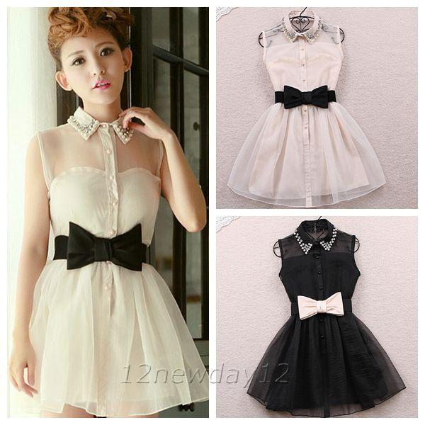 Princess Dress Women's Pearl Rhinestone Puff Skirt Tank Sleeveless Dresses  Belt