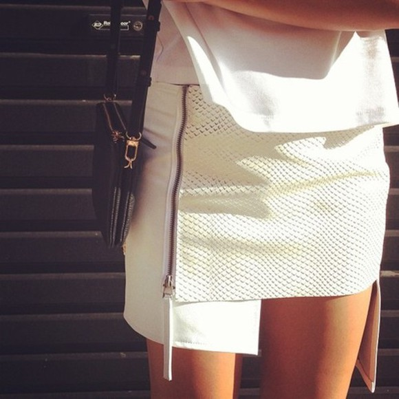 skirt white skirt asymetric skirt zipper skirt croco crocodile skin crocodile cream python faux leather