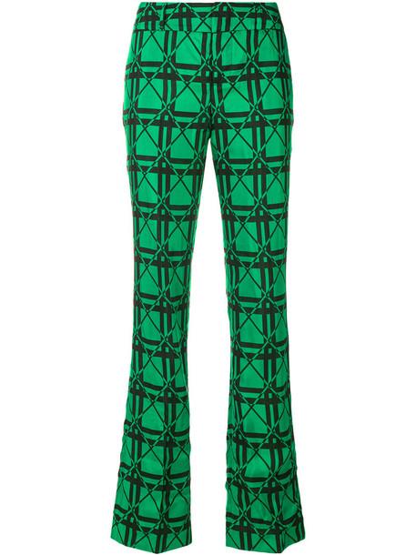 MARNI women jacquard cotton green pants