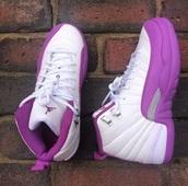 shoes,retro 12,sneakers,jordans,purple,white,high top sneakers