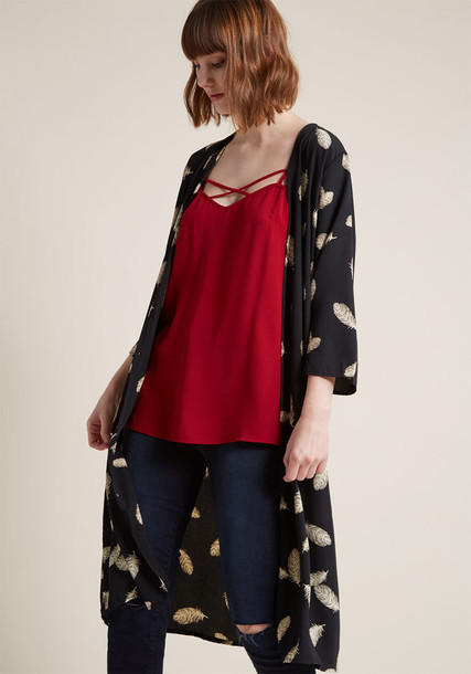 T321-02 kimono boho feathers long new number print black taupe top