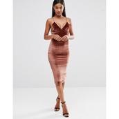 dress,bodycon dress,velvet dress,midi dress,brown dress