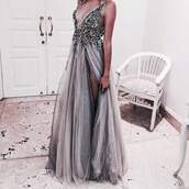 dress,grey,grey dress,glitter dress,beautiful dresess,glitter,glitter dresses,silver,embellished dress,jewels,prom dress,sexy v-neck dress,backless dress with beading,gown,white,black,sequin dress,sparkle,prom,prom beauty,prom shoes,black dress,white dress,silver dress,rhinestones dress,tulle dress,beautiful,usa,u.k.,british,prom gown